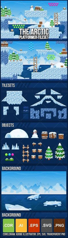 Game tileset with ice glacier in the arctic theme. Suitable for creating Christmas, winter, or other adventure video games with ice-cold theme. #2d #game #assets #tileset #tile #sprite