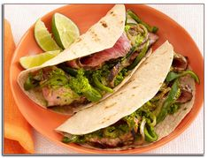 Get Sunny Anderson& Steak Fajitas with Chimichurri and Drunken Peppers Recipe from Food Network Steak Dinner Recipes, Easy Steak Recipes, Easy Dinner Recipes, Easy Meals, Weeknight Meals, Beef Recipes, Healthy Recipes, Sausage Recipes, Quick Recipes