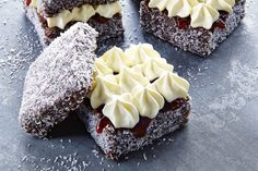 Nothing is more Aussie than jam and vanilla cream lamingtons. #baking #recipes