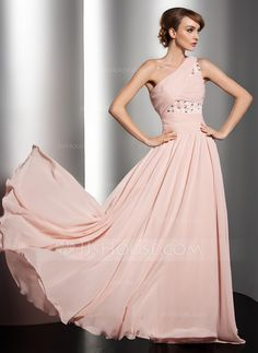 Holiday Dresses - $138.69 - A-Line/Princess One-Shoulder Floor-Length Chiffon Holiday Dress With Ruffle Beading Flower(s) (020014547) http://jjshouse.com/A-Line-Princess-One-Shoulder-Floor-Length-Chiffon-Holiday-Dress-With-Ruffle-Beading-Flower-S-020014547-g14547