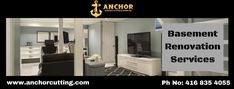 Contact AnchorCutting - well known name in basement renovation services in Brampton, Mississauga, Milton and Oakville. Basement Renovations, Meet, Change, Popular, Mirror, Detail, Home Decor, Decoration Home, Room Decor