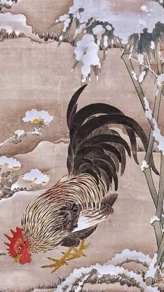 "Detail. 伊藤若冲 雪中雄鶏図 細見美術館蔵 (展示期間). Ito Jakuchu, ""Rooster and Bamboo in the Snow."" Mid-Edo Period (18th century). Japanese hanging scroll. Hosomi Museum."