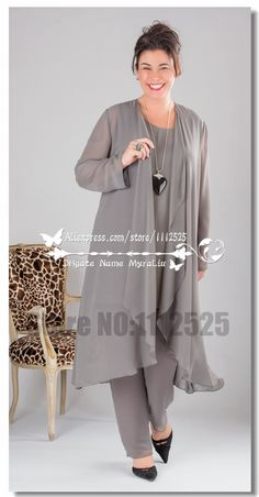 AMP 1031 Elegant Gray Chiffon mother of the bride dresses pants suit with long gown Plus size-in Mother of the Bride Dresses from Weddings & Events on Aliexpress.com | Alibaba Group