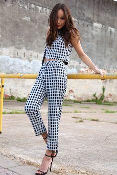 Gingham Top & Trousers: Topshop. Sandals: Saint Laurent. Bag: Céline.