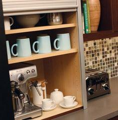 Urban Loft - Storage Solutions - contemporary - - minneapolis - by Dura Supreme Cabinetry Coffee Station Kitchen, Home Coffee Stations, Storage Cabinets, Kitchen Storage, Wine Storage, Coffee Center, Coffee Area, Coffee Nook, Loft Storage