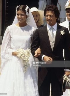 Princess Caroline of Monaco's first wedding to Philippe Junot on June 28 & The civil wedding took place in the palace's throne room, with a pre-wedding gala that night and the religious. Queen Wedding Dress, Royal Wedding Gowns, Civil Wedding, Royal Weddings, Princess Wedding, Wedding Bride, Philippe Junot, Famous Wedding Dresses, Ernst August