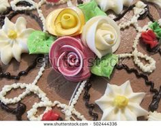 cake decorated with creamy flowers