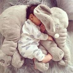 Large Plush Doll Cartoon Stuffed Toys Kids Animal Juguetes Peluches Elephant Pillow Baby Toys For Children Gift Minions So Cute Baby, Cute Babies, Cute Baby Sleeping, Babies Stuff, The Babys, Baby Pictures, Baby Photos, Baby Images, Newborn Photos