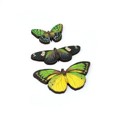 Green Butterfly Brooch, Wood Accessory, Butterfly Badge, Illustration Jewelry, Set of Three, Animal Brooch, Wood Jewelry