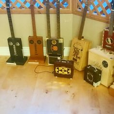 Cigar & wine box guitars and amplifiers custom made at our store.