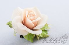 Hair clip / brooch with a rose from floral polymer clay. Рair accessories with a rose. Brooch with a rose