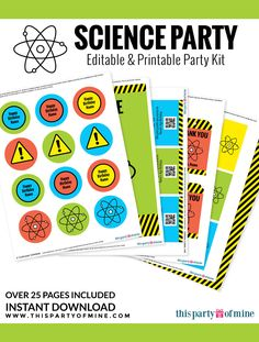 FREE mad scientist birthday party printables Includes candy bar