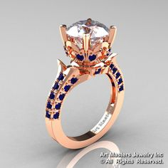Exclusive 14K Rose Gold 3.0 Carat White and Blue Sapphire Solitaire Blazer Ring R401-14KRGBSWS-1