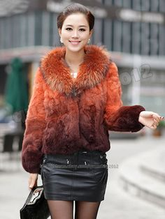 199$, 100% Real Genuine Rabbit Fur Raccoon Collar Coat Jacket Wearcoat Gradien