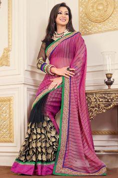 Pink Georgette Latest Designer Saree