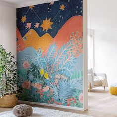 Dreamland Wallpaper by Caselio Hygge, Very Easy Drawing, Easy Drawings, Kitchen Feature Wall, Dreamland, Sustainable Textiles, Batik Art, Watercolour Tutorials, Silk Painting