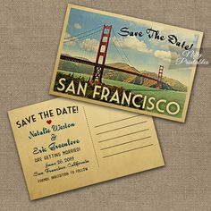 San Francisco Save The Date Postcard Vintage by NiftyPrintables
