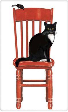 Black cat on a red chair dish towel tea towel www.aloveofdishtowels.com