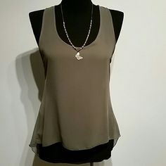 Sheer top Olive green sheer high low top. Low swoop back. Only worn a few time usually with a coral tank underneath. The size tag is mostly washed off but is a lg.  *Necklace NOT for sale* Body Central Tops Blouses