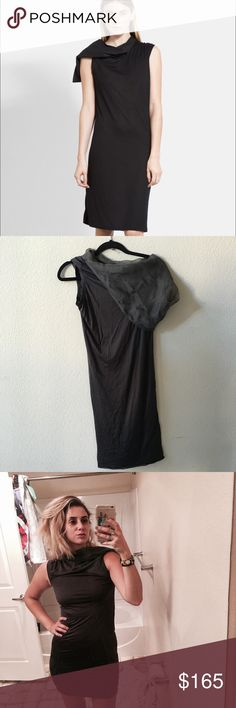 """💯Rick Owens Suede Hood Jersey Tunic Dress Collared hood silk suede jersey leather oversized unlined tunic day dress. An oversized hood and collar cut from feather-soft suede top a silk-infused jersey dress designed in a delightfully boyish silhouette.37 1/2"""" length. Unlined.85% rayon, 15% silk with lambskin leather hood and collar.Professional leather clean.By Rick Owens; made in Italy.Collectors.Size tag has been removed but would best fit a small . I am an 8 for reference , hence the…"""