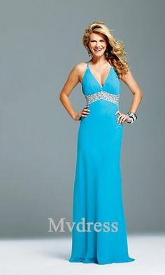 Homecoming Dresses#Chiffon #Blue Dress# Empire #A-Line Dress