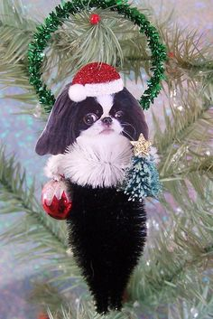 Japanese Chin Christmas Ornament Feather Tree by TreePets on Etsy, $12.00. I want the set.