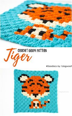 Zoodiacs tiger made using c2c crochet. Free pattern and graph at www.1dogwoof.com