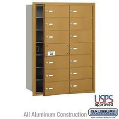 4B+ Horizontal Mailbox - 14 B Doors (13 usable) - Gold - Front Loading - USPS Access by Salsbury Industries. $693.00. 4B+ Horizontal Mailbox - 14 B Doors (13 usable) - Gold - Front Loading - USPS Access - Salsbury Industries - 820996417923