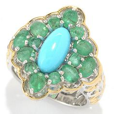145-505- Gems en Vogue 10 x 5mm Sleeping Beauty Turquoise & Zambian Emerald Scrollwork Ring