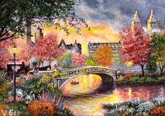 Original ACEO Autumn in New York by V.Geo