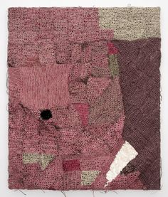Josh Faught/Palindrome/2011/Sequins, cochineal, spray paint, and hemp on linen/43 x 36 x 2 inches