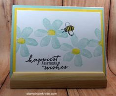 Stampin' Up! Birthday card made with Garden in Bloom stamp set and designed by Demo Pamela Sadler. See more cards at stampinkrose.com #stampinkpinkrose #etsycardstrulyheart