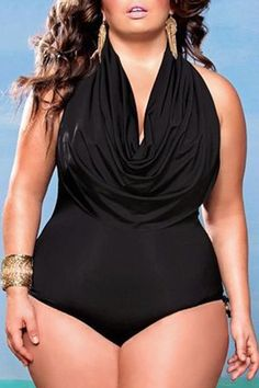 Sexy Cowl Neck Sleeveless Draped Plus Size Women's Swimwear
