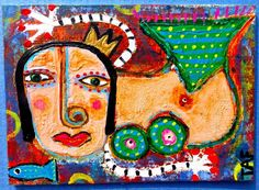 Tracey Ann Finley Original Outsider Raw Folk ACEO Painting Queen Mermaid Fish 2 #OutsiderArt