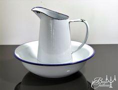 Crisp White & Royal Blue Enamel Vintage by BeauChateauBoutique
