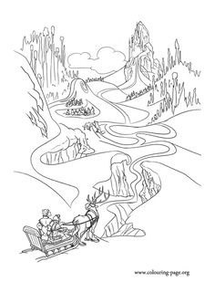 Anna, Kristoff, Olaf and Sven are on the way to the Elsa's ice palace. Come check out this amazing Disney Frozen coloring page and have fun!