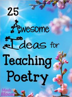 25 Great Ideas for Teaching Poetry. Whether you are starting a poetry unit or want to integrate poetry into your curriculum all year long, here are some ideas to make poetry fun and meaningful for your students. Teaching Poetry, Teaching Writing, Teaching English, Teaching Ideas, Teaching Spanish, Teaching Strategies, Poetry Unit, Writing Poetry, Poetry Prompts