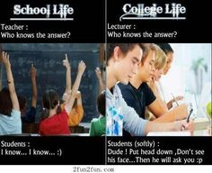 school and college life jokes – the difference of school life and college life. school and college life jokes – the difference of school life and co High School Vs College, College Humor, College Life, School Humor, Funny Images, Funny Pictures, Apps For Teens, School Life, Med School