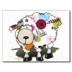 キュートな花柄の羊が入ったポストカード。 2015年をガーリーに始めたいあなたに。受け取った人も、ついつい捨てずに取っておくこと間違いなし? #zazzle #2015 #年賀状