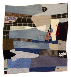 """Sherri Lynn Wood, Ronald J Tworek quilt (1935 - 2007) 2008, 65"""" w x 68"""" Made with the help of Debbie Piscatelli from her father's clothes. This quilt will be included in Quilt National 2009."""