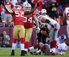 San Francisco linebacker Patrick Willis celebrates after sacking Giants quarterback Eli Manning. The 49ers' defense picked off Manning twice and came out on top 27-20.