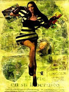 14-MUROS de ARTE (Cris Acqua) Pintura MIxta Collage. 30x21 cm . MUROS de ARTE. Mixed Media.  He jugado con seda en los muros, con pinturas, con periódicos, con cepillos y pinceles impregnados de cola, con mis recuerdos, con mis fantasias, con mi rabia, con mi alegria, pero siempre , siempre..como amante encaprichada, obsesivamente del ARTE... (Cris Acqua) www.crisacqua.com