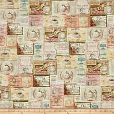 Tea Time Labels Multi Pastel from @fabricdotcom  Designed by Iron Orchid Designs for Clothworks, this cotton print fabric features vintage style tea and biscuit labels that will have you craving afternoon tea! Perfect for quilting, apparel and home decor accents. Colors include white, black, shades of pink and grey, cream, beige, tan, red, shades of blue and green, brown and burgundy.