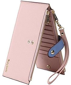 85da0dffaccc Borgasets RFID Blocking Women s Leather Wallet Zip Card Case Purse with  Removable Strap Wristlet and ID