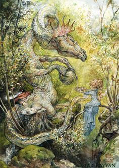 A dragon serves a fairy princess tea in this fantasy childrens book illustration by Omar Rayyan « « Mayhem & Muse Art And Illustration, Art Illustrations, Fantasy Kunst, Fantasy Art, Omar Rayyan, Fantasy Creatures, Oeuvre D'art, Fairy Tales, Art Photography