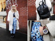 Lisa Dengler in blue floral printed pants for New York Fashion Week