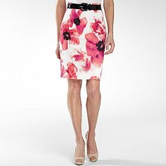 Worthington® Belted High-Waist Print Sateen Skirt - jcpenney