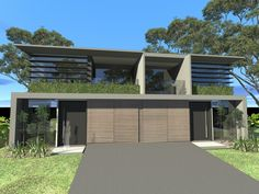 Dual occupancy - duplex development. Concrete, timber and glass. Residential architecture. Sydney, Australia.