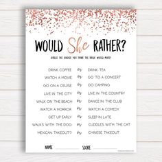 Would She Rather, Rose Gold Bridal Shower Games, Ice Breaker Game, Bachelorette Party, Bachelorette Games, Bridal Party Games, Rose Gold ------ A hilarious game for your bridal shower or bachelorette party, and really shows how well the guests know the bride-to-be. Guess which