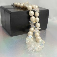 Vendome vtg necklace faux pearls AB clear rivoli or saucers crystals 16 in #Vendome #StrandString